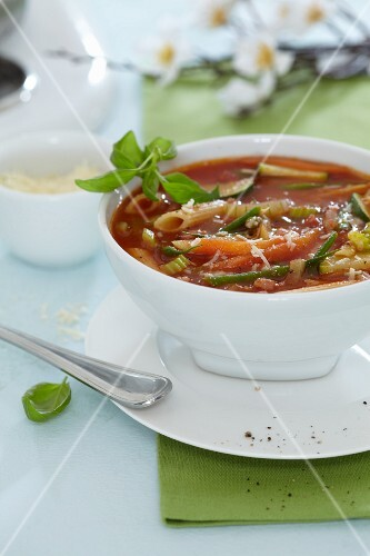 Vegetable soup with tomatoes and pasta