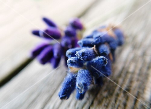 Lavender blossom on a rustic wooden table