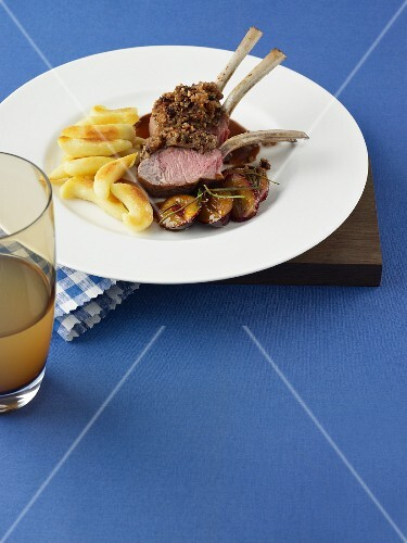 Rack of lamb with prunes and potato gnocchi