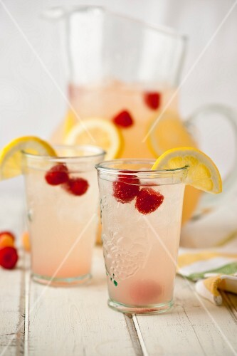 Pitcher and Glasses of Raspberry Lemonade