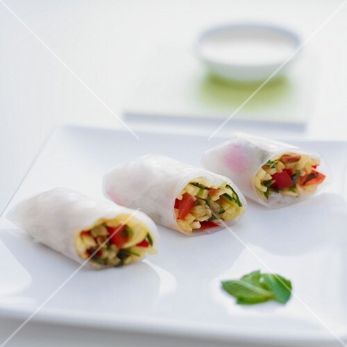 Summer rolls on a white plate