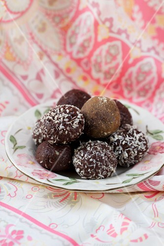 Chocolate truffles and coconut truffles