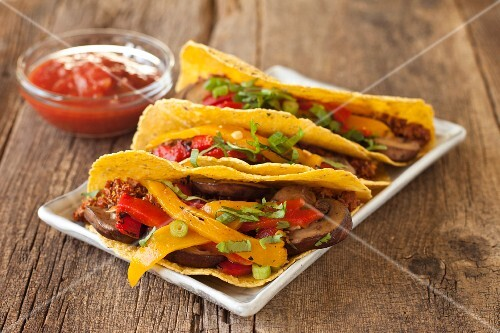 Grilled Mushroom Tacos with Bell Peppers