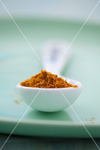 Curry powder in a porcelain spoon