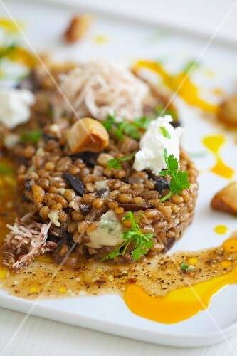 Oat risotto with mushrooms, blue cheese and parsley