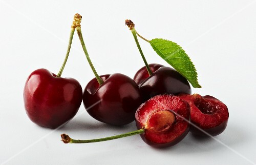 Morello cherries, whole and halved