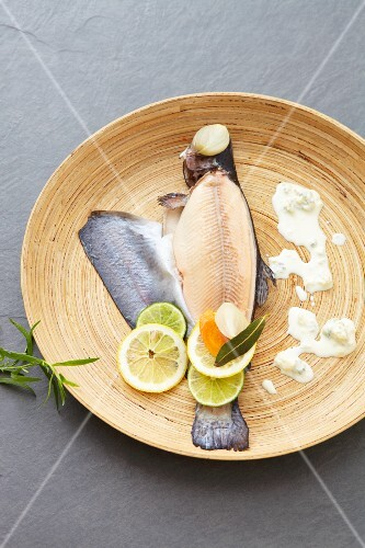 Trout au bleu with lemons