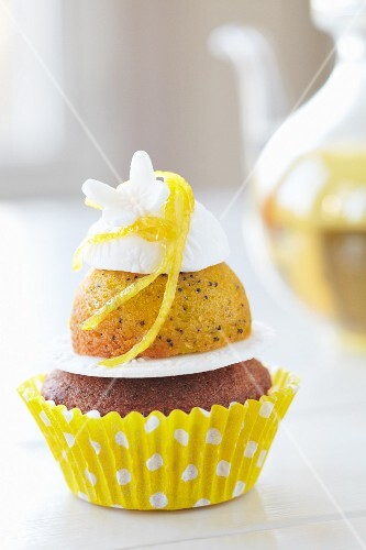A lemon cupcake with meringue