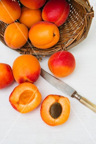 Apricots in and in front of a basket, with a knife