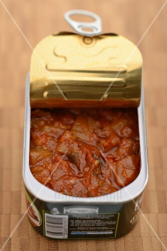 Preserved aubergines in tomato sauce