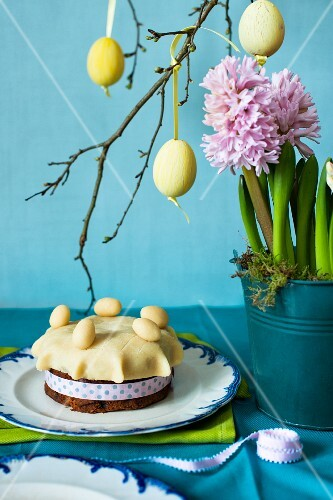 Easter simnel cake with hyacinths