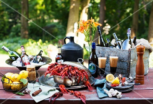Outdoor Table with Crawfish and Beer