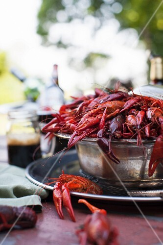 Large Bowl of Crawfish on an Outdoor Table
