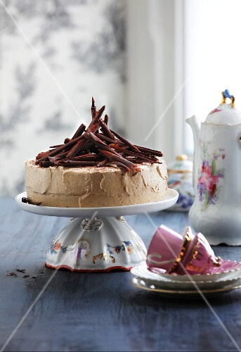 Mocha layer cake with chocolate curls