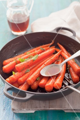 Carrots glazed with maple syrup