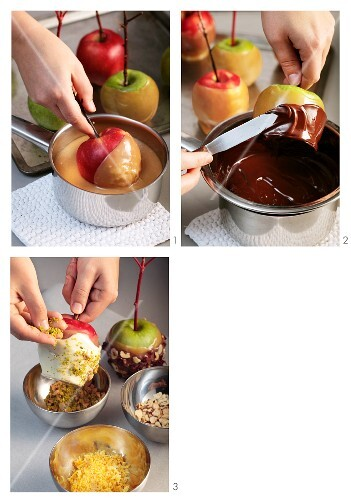 Toffee apples being made and then coated in white chocolate