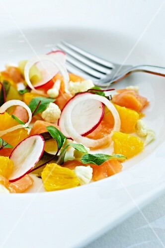 Salmon confit with oranges, radishes and shallots