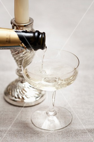 Pouring sparkling wine