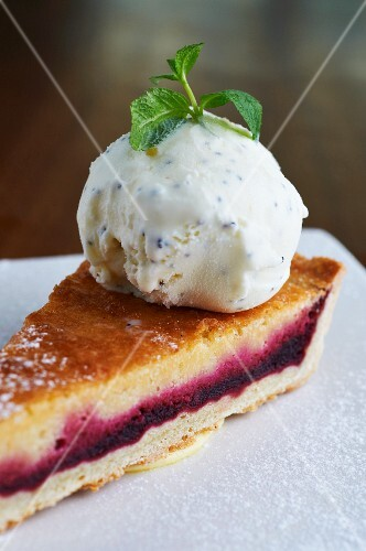 Beetroot & frangipane tart with a scoop of vanilla ice cream