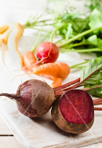Beetroot, carrots and radishes