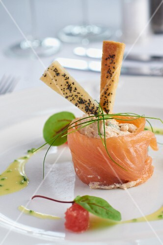 Smoked trout pâté wrapped in smoked salmon
