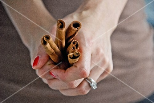 A woman's hands holding cinnamon sticks