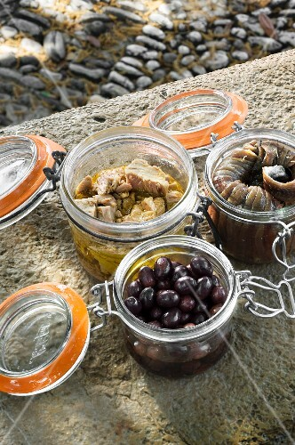 Preserved tuna, anchovies and olives in jars on a stone wall