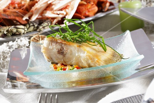 Roast turbot with vegetables