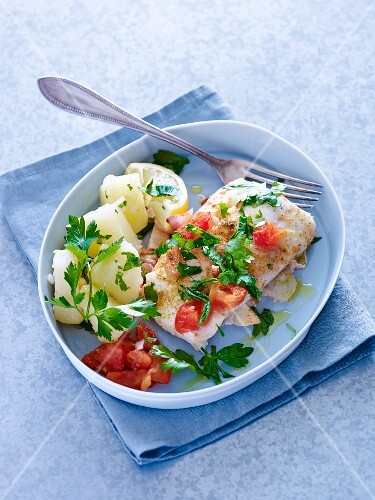 Cod with tomatoes and parsley potatoes