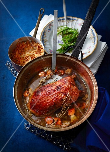 Goose breast in a whisky & cinnamon sauce with red lentils