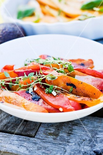Grilled root vegetables on a plate, Sweden.