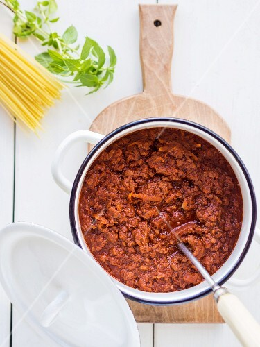 Vegan Bolognese sauce prepared with soya.