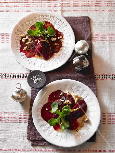 Beetroot carpaccio with walnut dressing and lamb's lettuce