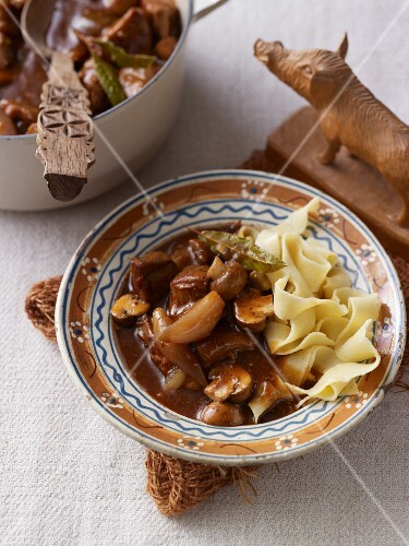 Wild boar goulash with ribbon pasta