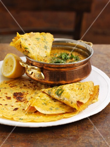 Coriander pancakes with daal (India)