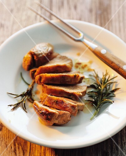 Fried pork fillet with rosemary