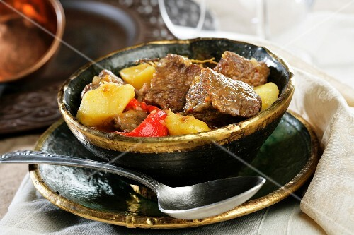Veal goulash with peppers and potatoes (Hungary)
