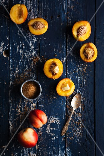 Nectarine halves with butter and brown sugar