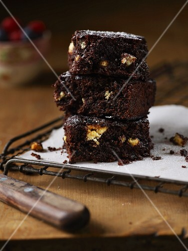 A stack of brownies