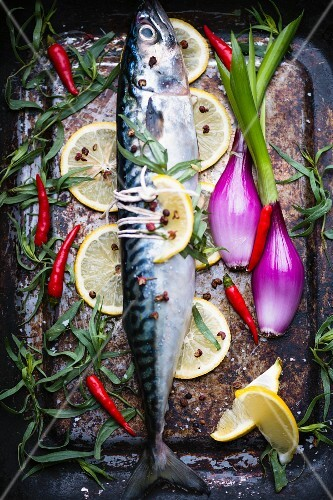 Mackerel with tarragon, spring onions, chillies and lemons (ready to cook)