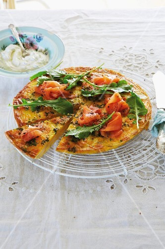 Herb frittata with smoked salmon for a Mother's Day brunch