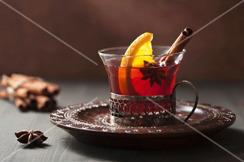 Mulled wine with orange, cinnamon and star anise