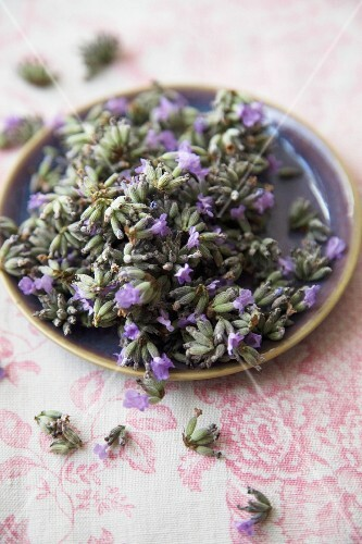 Lavender flowers on a plate