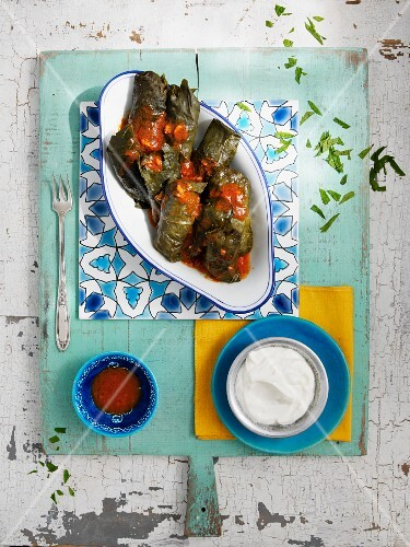 Stuffed vine leaves with tomato sauce and yoghurt