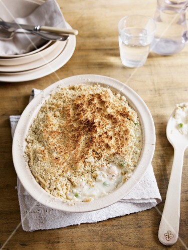 Fish pie with oat crumble topping