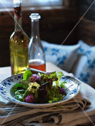 Salad with flowers and wild herbs