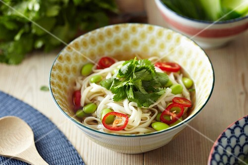 Noodle soup with soy beans, chillies and coriander (Asia)
