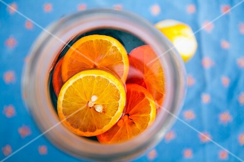 A summer drink with citrus fruits (from above)