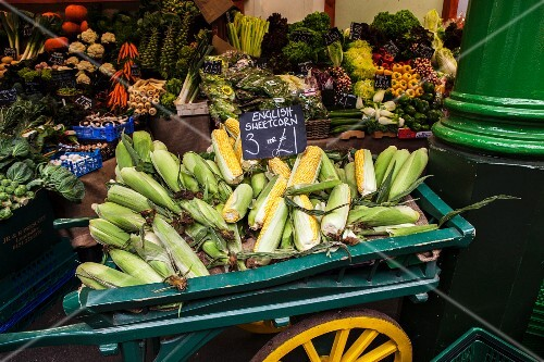 Corn cobs and vegetables at the market
