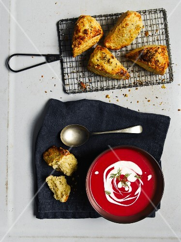 Beetroot soup with cheese scones